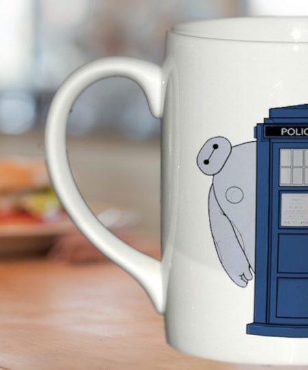 baymax hide behind tardis mug