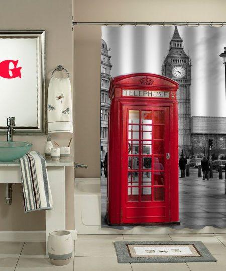 london big ben pattern shower curtain