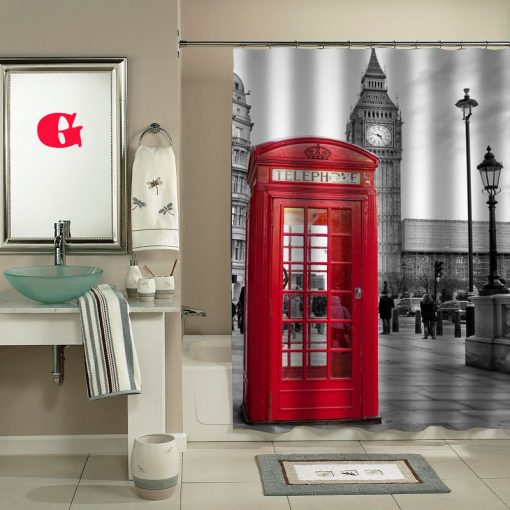london big ben pattern shower curtain