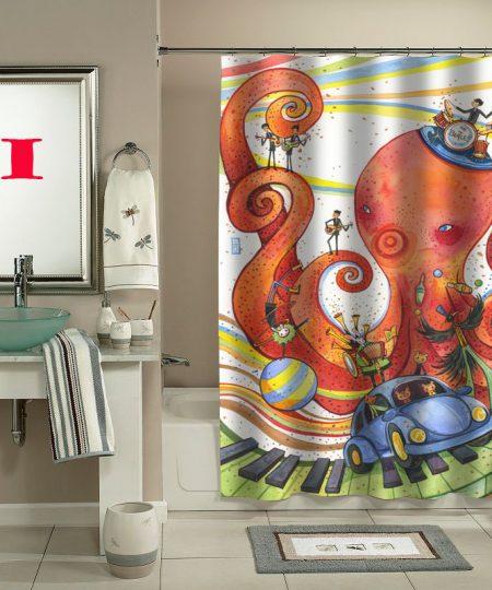 original octopus garden shower curtain