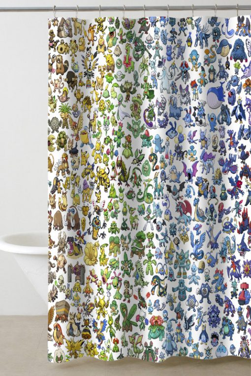 pokemon all shower curtain