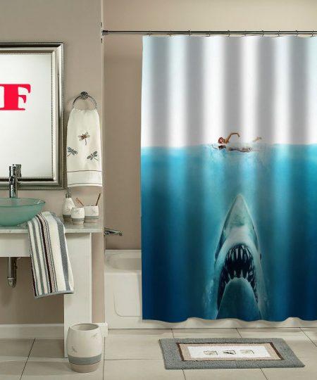 shark jaws movie shower curtain