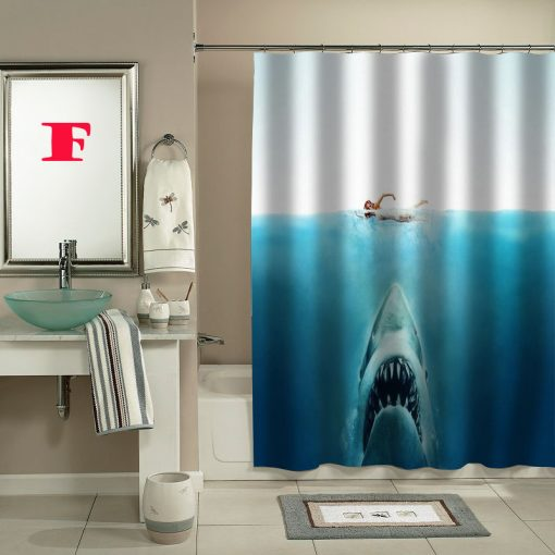 shark jaws movie shower curtain