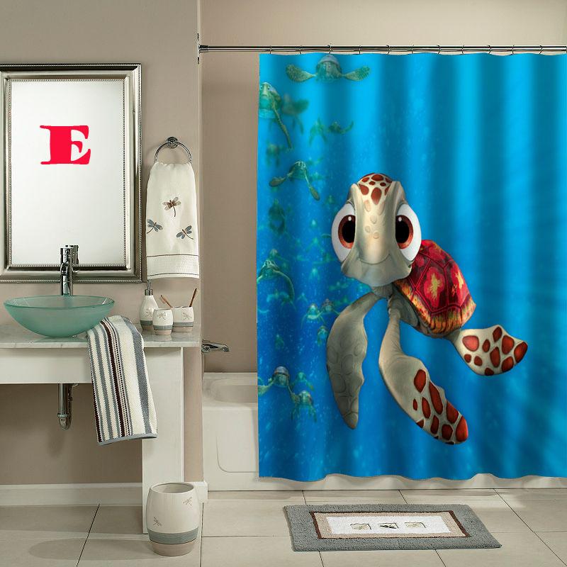 Squirt finding nemo shower curtain custom shower curtain for Finding nemo bathroom ideas