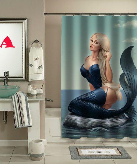 trampy mermaid shower curtain