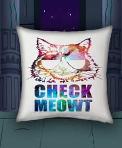 Check Meowt Cat Sunglasses blue pillow case
