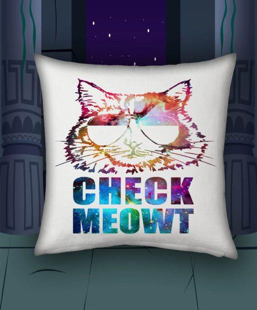 Check Meowt Cat Sunglasses blue pillow case