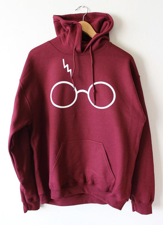Harry Potter Lightning Glasses Maroon Hoodies Sweater