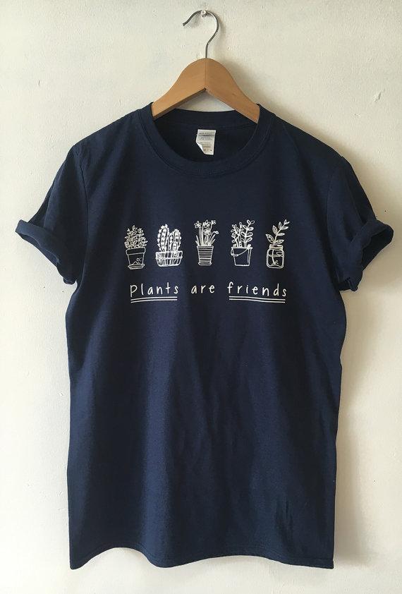 plant are friends navy tshirt shirt tees adult unisex custom clothing. Black Bedroom Furniture Sets. Home Design Ideas