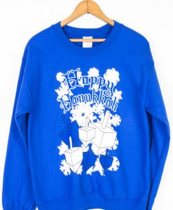 Blue Dreidel Happy Hanukkah christmas sweater
