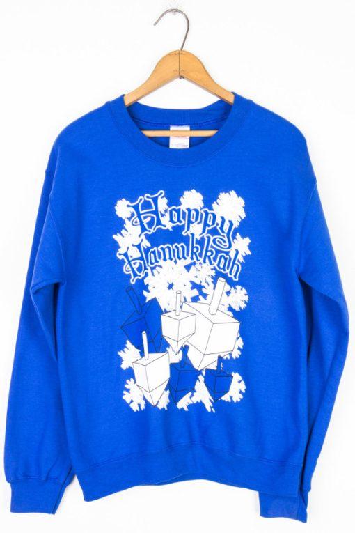 Blue Dreidel Happy Hanukkah christmas sweater