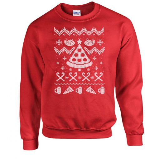 Funny Christmas Pizza sweater gifts