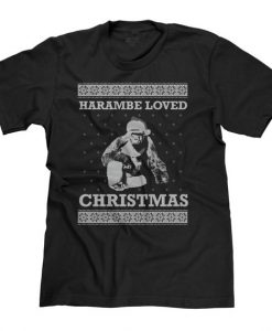 Harambe Loved Christmas Black T-Shirt gift