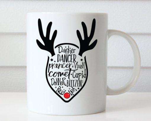 Christmas Reindeer Names Mug