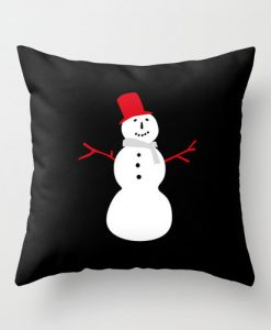 snowman black christmas pillow cover