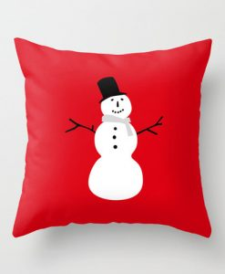 Snowman Red christmas pillow