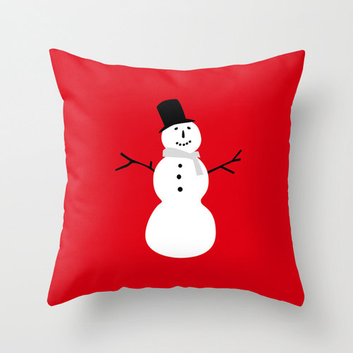 Snowman Red christmas pillow
