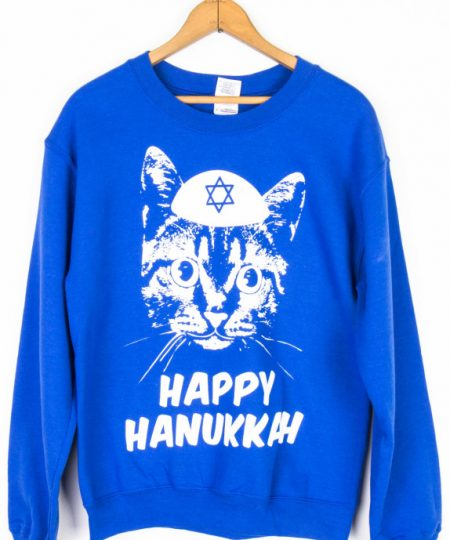 Yamaka Cat Hanukkah Sweater