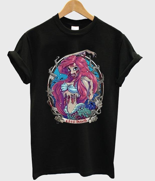 72d18d85f Zombie Disney Princess Ariel Mermaid Tshirt gift adult unisex custom ...