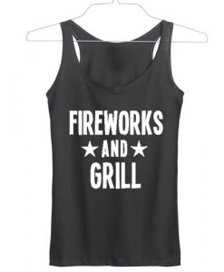 Independence Day fireworks and girl tanktop gift