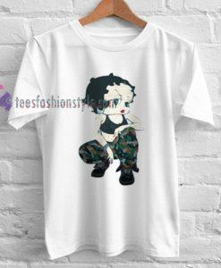 Betty Boop Soldier camo Tshirt gift
