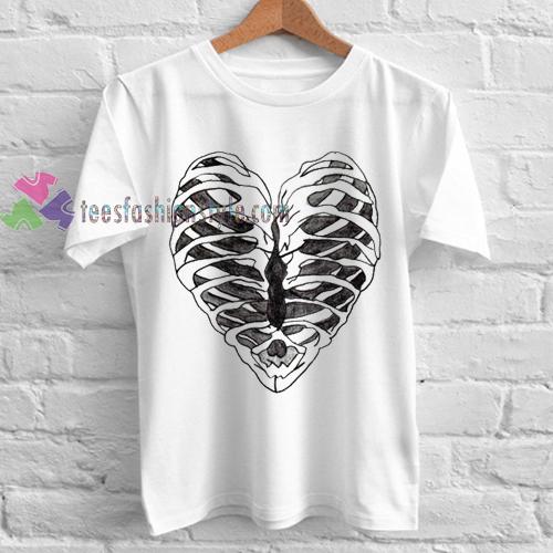 Rib Cage Heart Graphic Tshirt gift