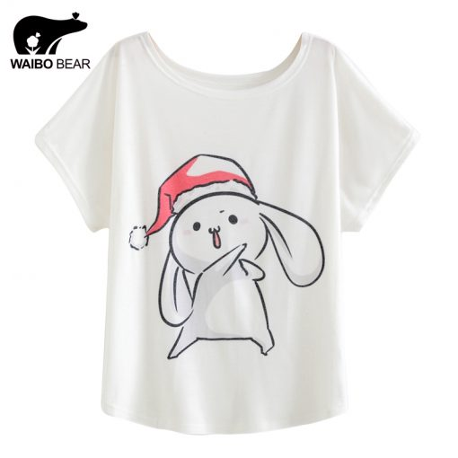 Cartoon Rabbit Pattern Christmas Tee