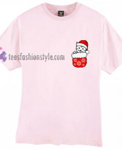 Christmas Cat Pocket Christmas T Shirt gift tees cool tee shirts