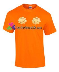 Twin Boobs Flower T Shirt gift tees unisex adult cool tee shirts