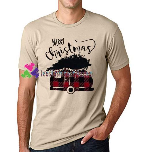 Merry Christmas Plaid Car T Shirt gift tees unisex adult cool tee shirts