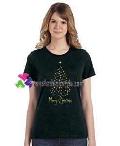 Merry Christmas T Shirt Christmas Gift Holiday Shirt Gold Christmas Tree Shirt gift tees unisex adult cool tee shirts
