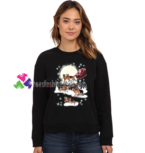 German Shepherd Christmas Sweater.Santa Riding German Shepherd Reindeer Christmas Sweatshirt Gift Sweater Adult Unisex Cool Tee Shirts