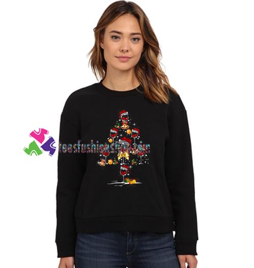 Wine Christmas Tree Shirt.Santa Hat Wine Glass Christmas Tree Sweatshirt Gift Sweater Adult Unisex Cool Tee Shirts
