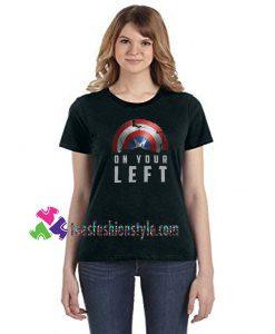 Broken Captain America Shield, On Your Left tee, Falcon