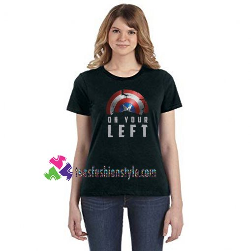 Broken Captain America Shield, On Your Left tee, Falcon