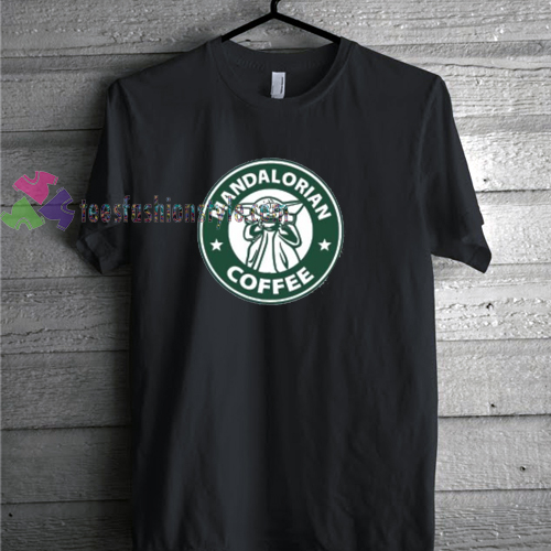 Starbucks and Baby Yoda Inspired Mandalorian Coffee starwars tshirt by teesfashionstyle.com
