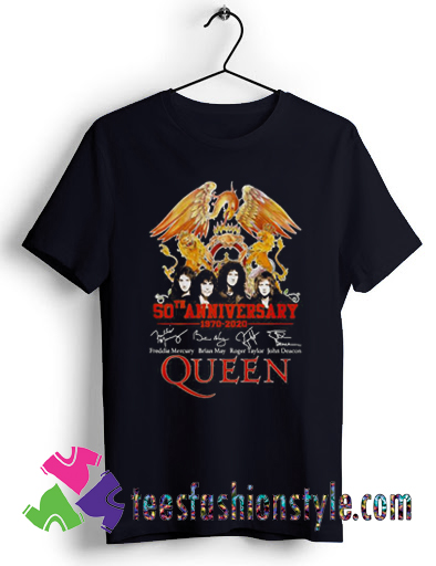 50th anniversary 1970 2020 signature Queen T shirt For Unisex
