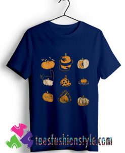 9 Pumpkins Halloween Spooky Fall Vintage T shirt For Unisex
