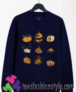 9 Pumpkins Halloween Spooky Fall Vintage Sweatshirts