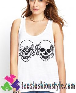 Casual Print Skull White Tank Top By Teesfashionstyle.com