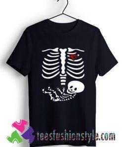 Halloween Maternity Shirt, Skeleton Bones with Baby T shirt For Unisex