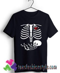 Halloween Maternity Shirt, Skeleton Bones with Baby T shirt For Unisex