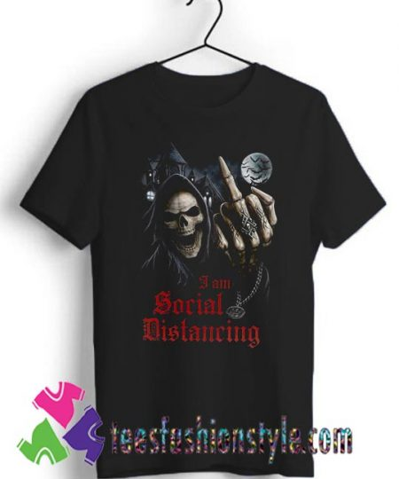 Social Distancing Skull Middle Finger T shirt For Unisex