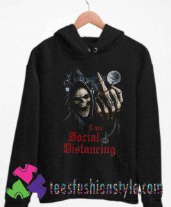 Social Distancing Skull Middle Finger Unisex Hoodie