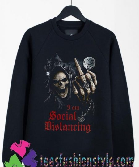 Social Distancing Skull Middle Finger Sweatshirts By Teesfashionstyle.com